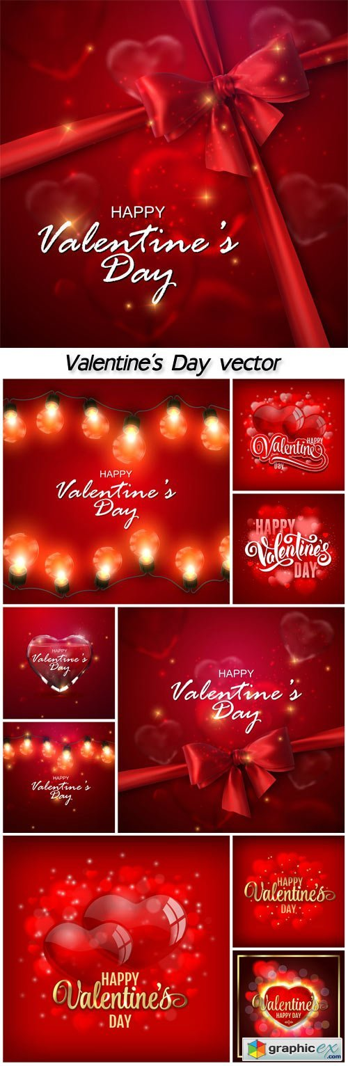 Valentine's Day vector background with red hearts