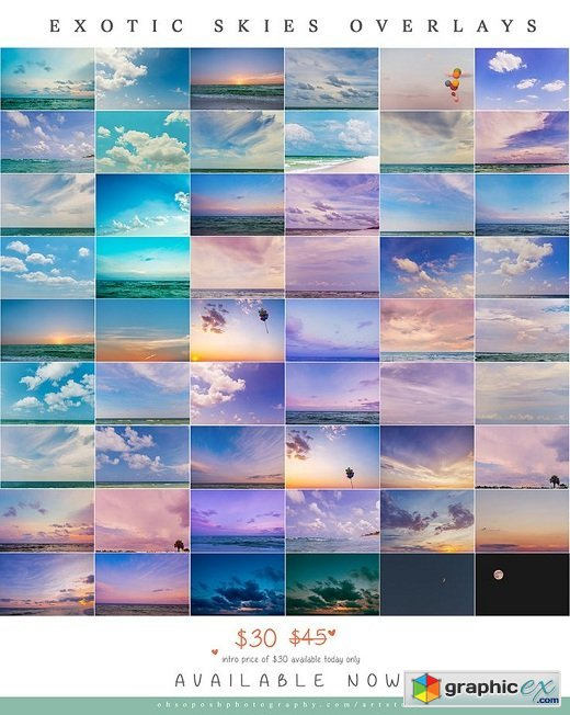 Oh So Posh Photography - Exotic Skies Overlays