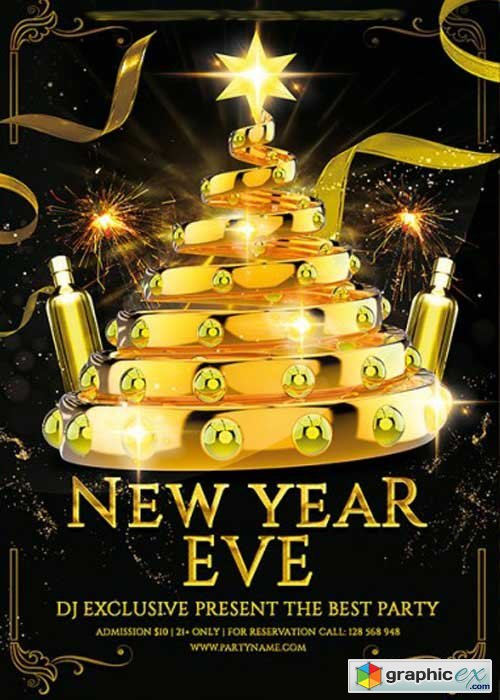 New Year Eve Premium Flyer Template + Facebook Cover