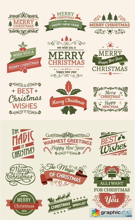 Merry Christmas Ribbons and Labels Vector Set
