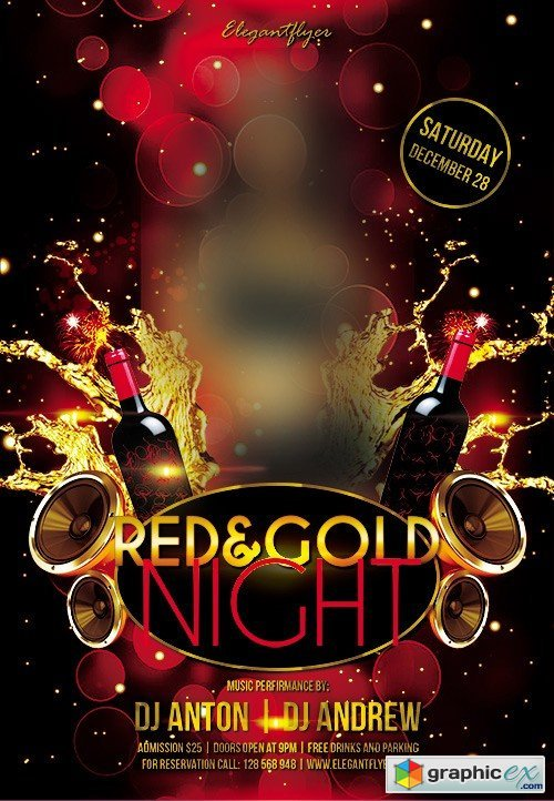 Red & Gold Night Flyer PSD Template + Facebook Cover