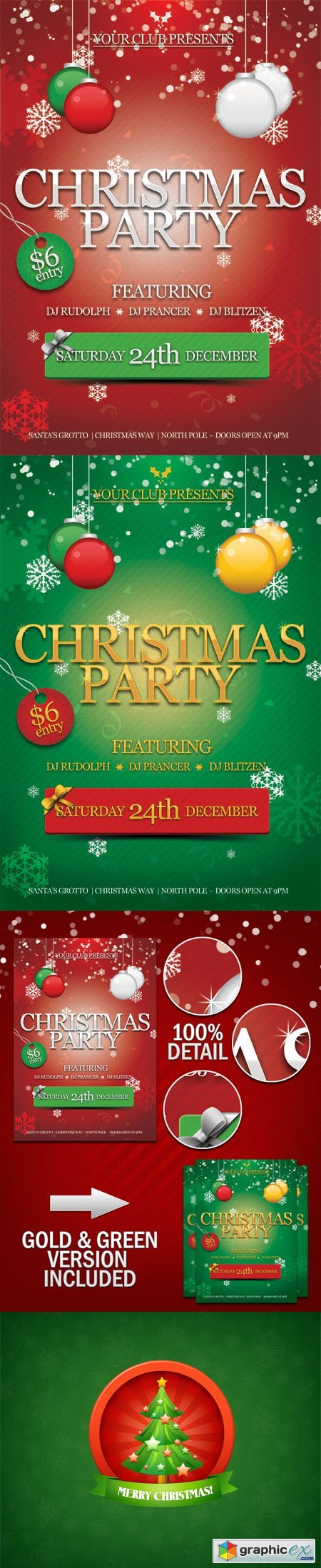 Christmas Party Flyer PSD Template + Christmas Tree PSD