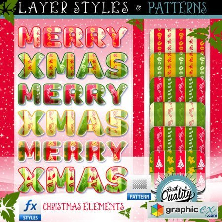 Christmas Photoshop Layer Styles and Patterns
