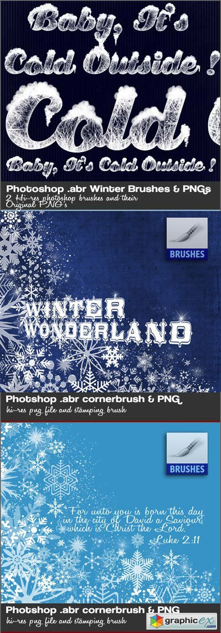 Snow, Cold and Winter Icy Photoshop Brushes