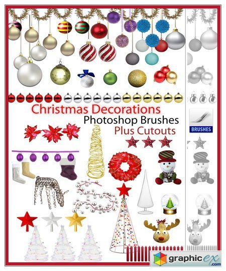 Christmas Decorations Photoshop Brushes Plus Cutouts