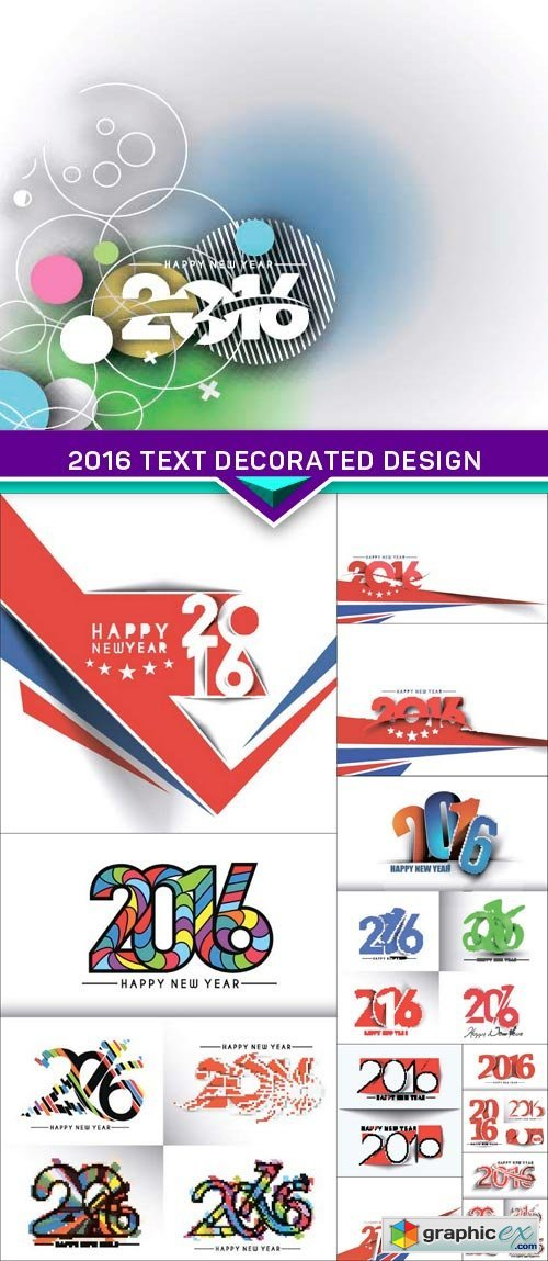 Happy New Year 2016 Text Decorated Design 10x EPS