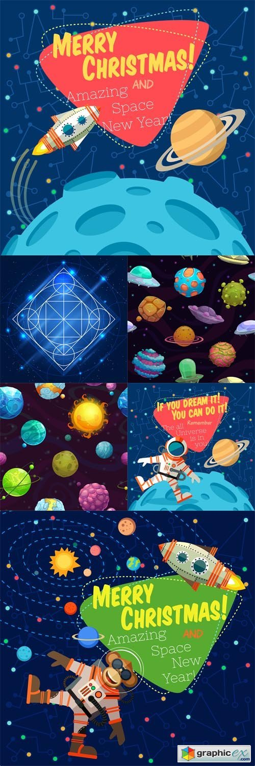 6 Space Illustrations Vector Set