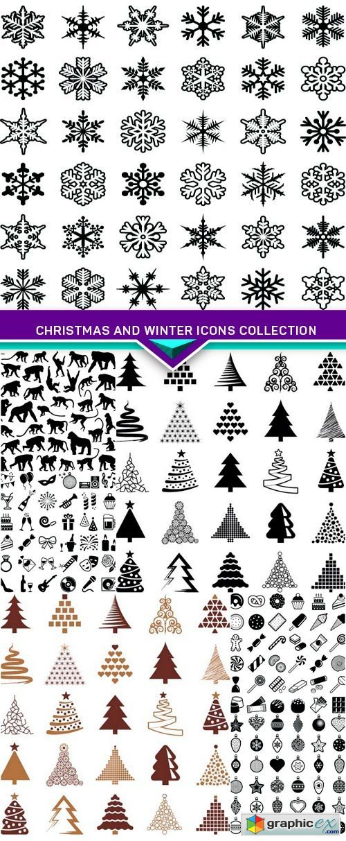 Christmas and Winter icons collection vector silhouette 8x EPS