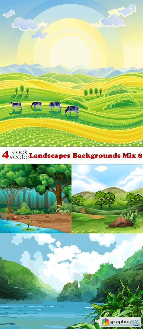 Vectors - Landscapes Backgrounds Mix 8