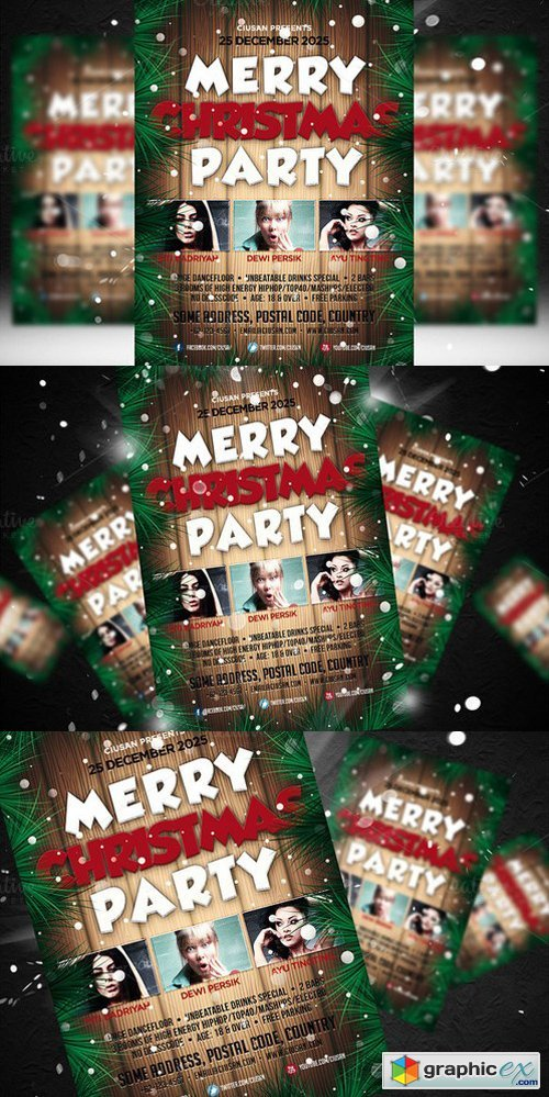 Merry Christmas Party Flyer Template 426846