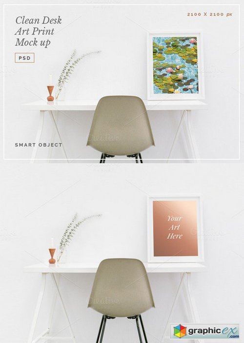 Clean Desk Art Print Mock Up PSD