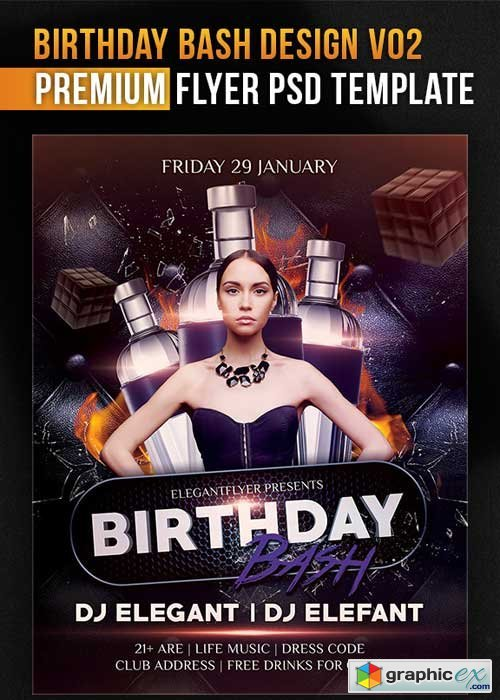 Birthday Bash Design V02 Flyer PSD Template + Facebook Cover
