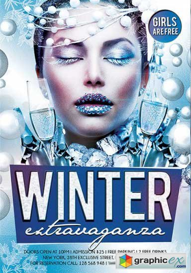 Winter Party Premium Flyer Template + Facebook Cover