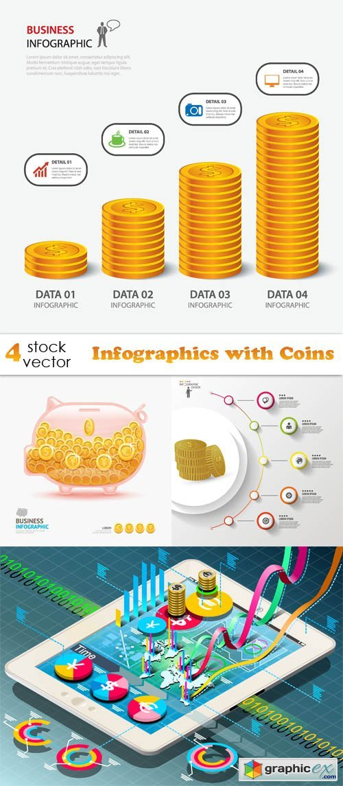 Vectors - Infographics with Coins
