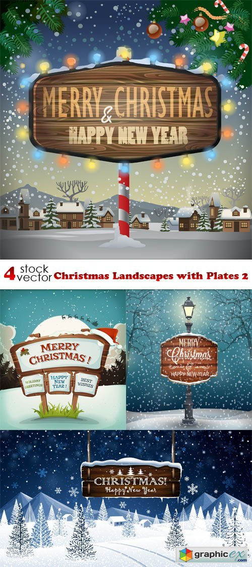 Vectors - Christmas Landscapes with Plates 2