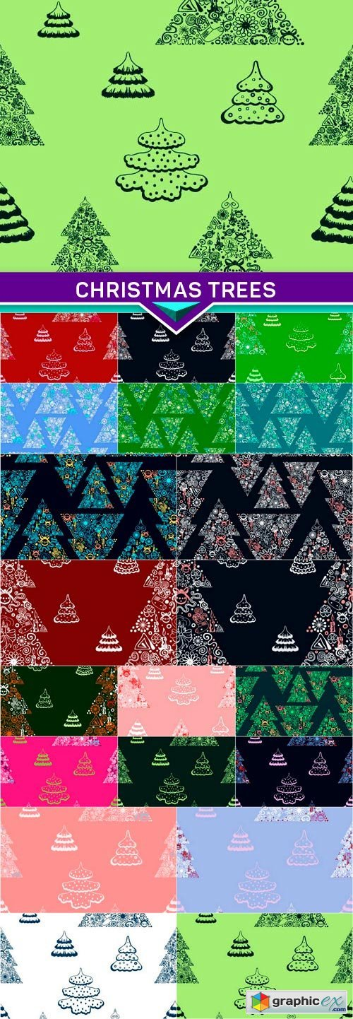 Seamless vector background Christmas trees 20x EPS