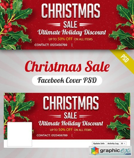 Christmas Sale Facebook Cover PSD Template