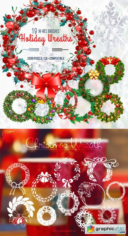 Christmas Wreaths and Holiday Garland Photoshop Brushes