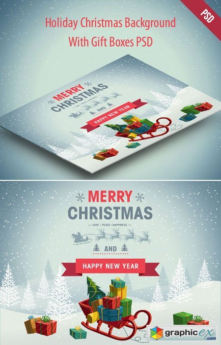 Holiday Christmas Background with Gift Boxes PSD Template