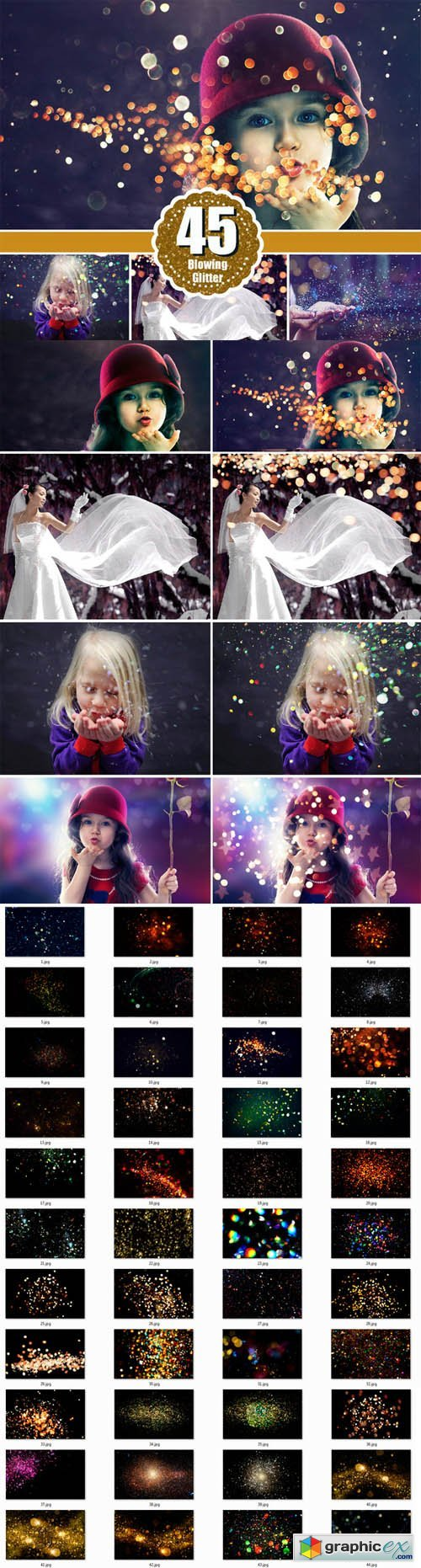 Blowing glitter photoshop overlays