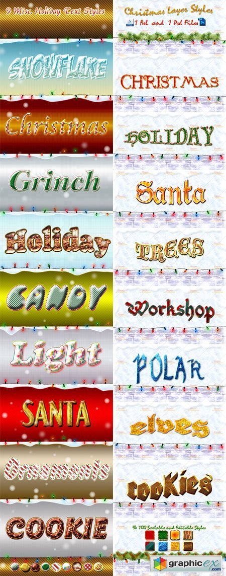 Christmas Photoshop Layer Styles ASL