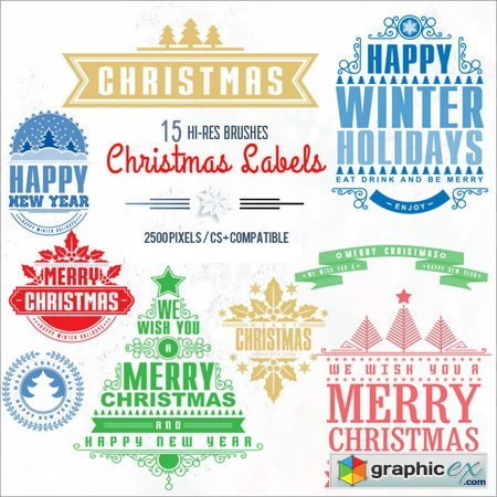 15 Christmas Labels Brushes FOR Photoshop