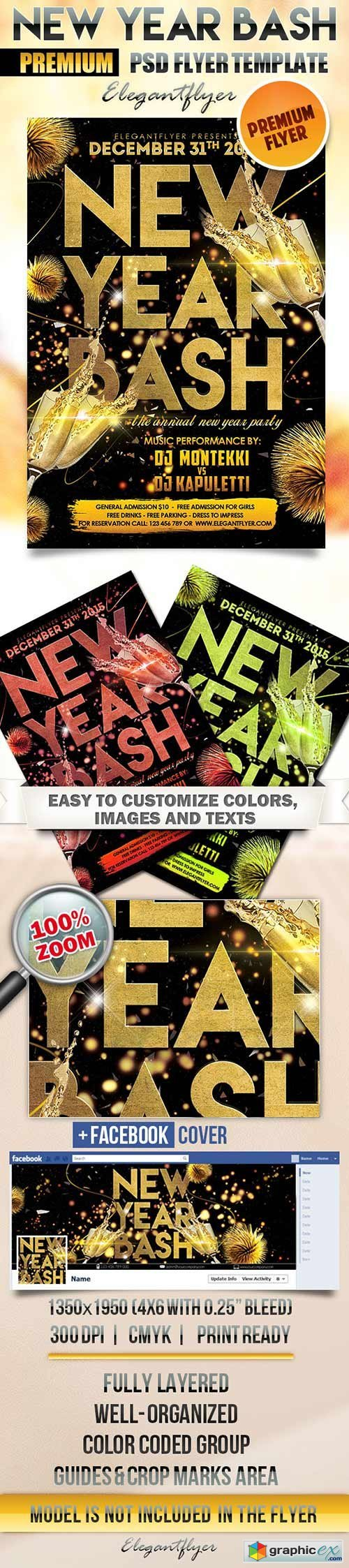 New Year Bash Flyer PSD Template + Facebook Cover