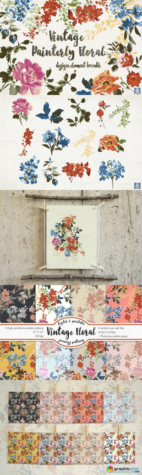 Vintage Floral Design Element Bundle