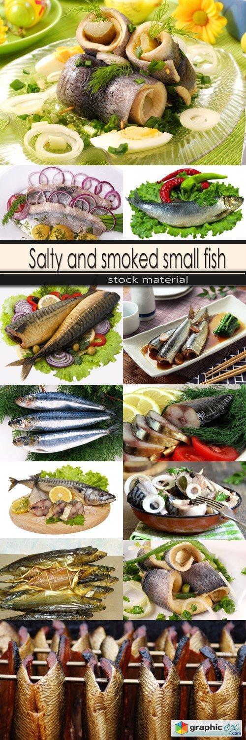 Salty and smoked small fish