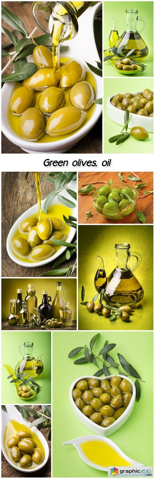 Green olives, oil