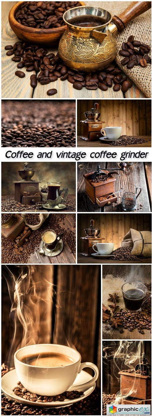 Coffee and vintage coffee grinder, coffee beans