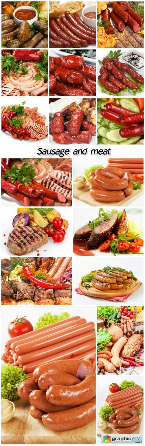 Sausages, sausage and meat