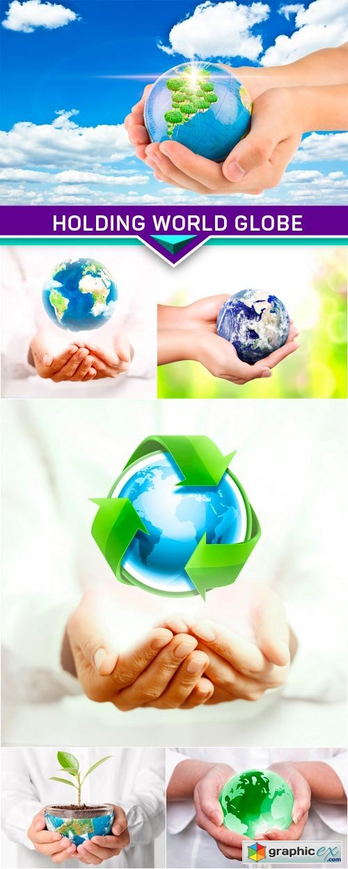 Holding world globe environment 6x JPEG