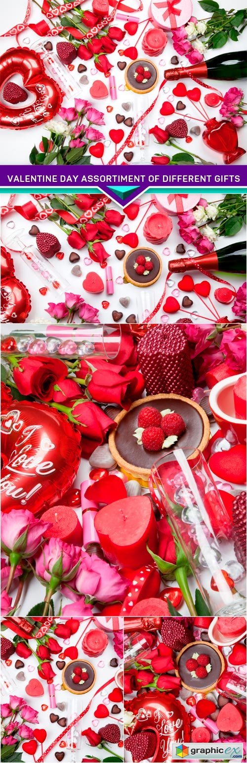 Valentine Day assortiment of different gifts 5x JPEG
