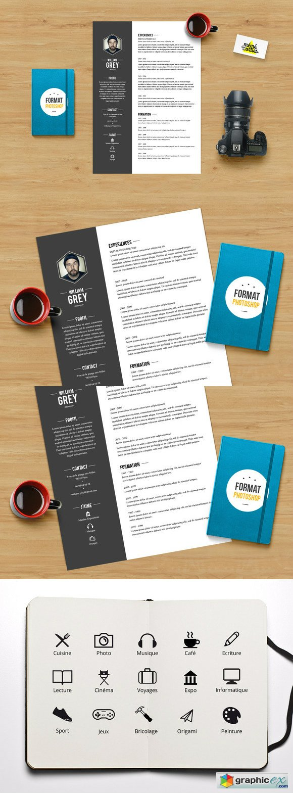 Grey Resume template Photoshop