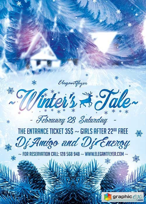 Winter's Tale Flyer PSD Template + Facebook Cover