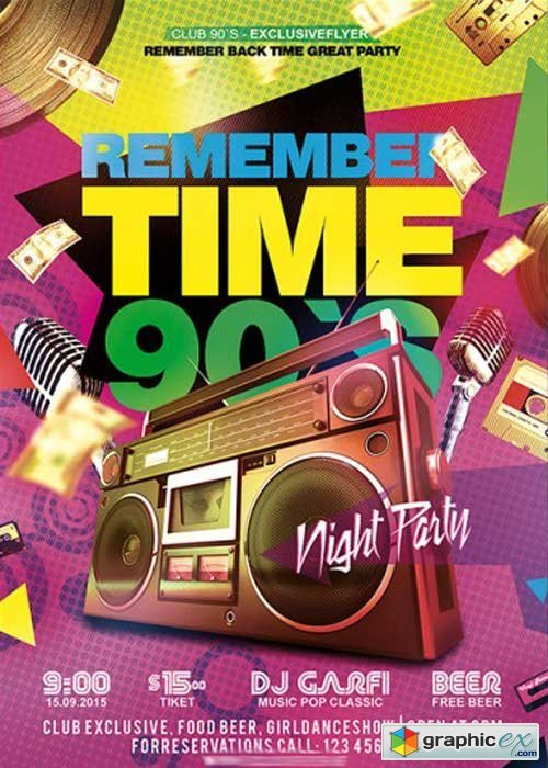 Remember Time 90s Premium Flyer Template + Facebook Cover