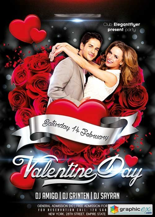 Valentine Day Party Flyer PSD Template + Facebook Cover