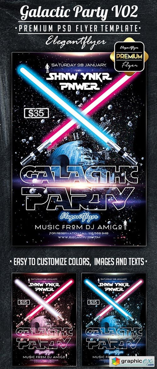 Galactic Party V02 Flyer PSD Template + Facebook Cover