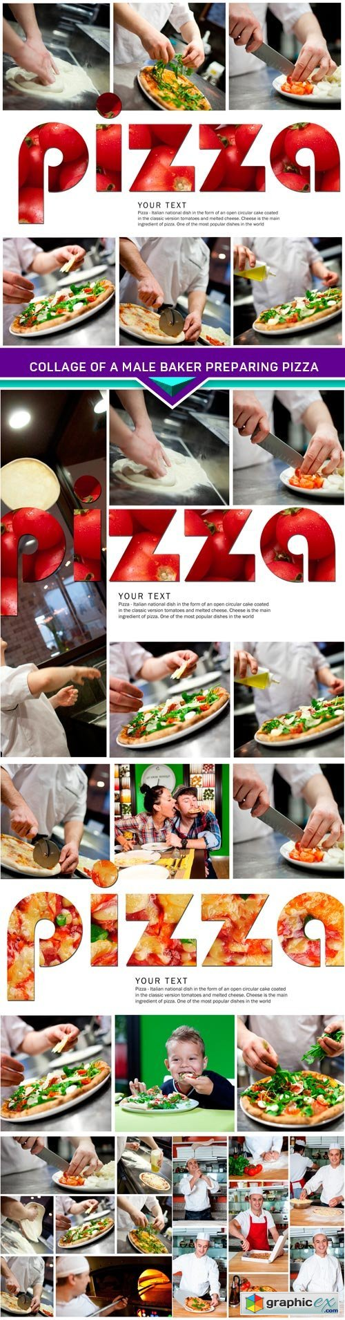 Collage of a male baker preparing pizza 5x JPEG