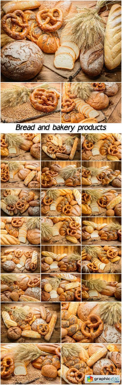 Bread and bakery products collages