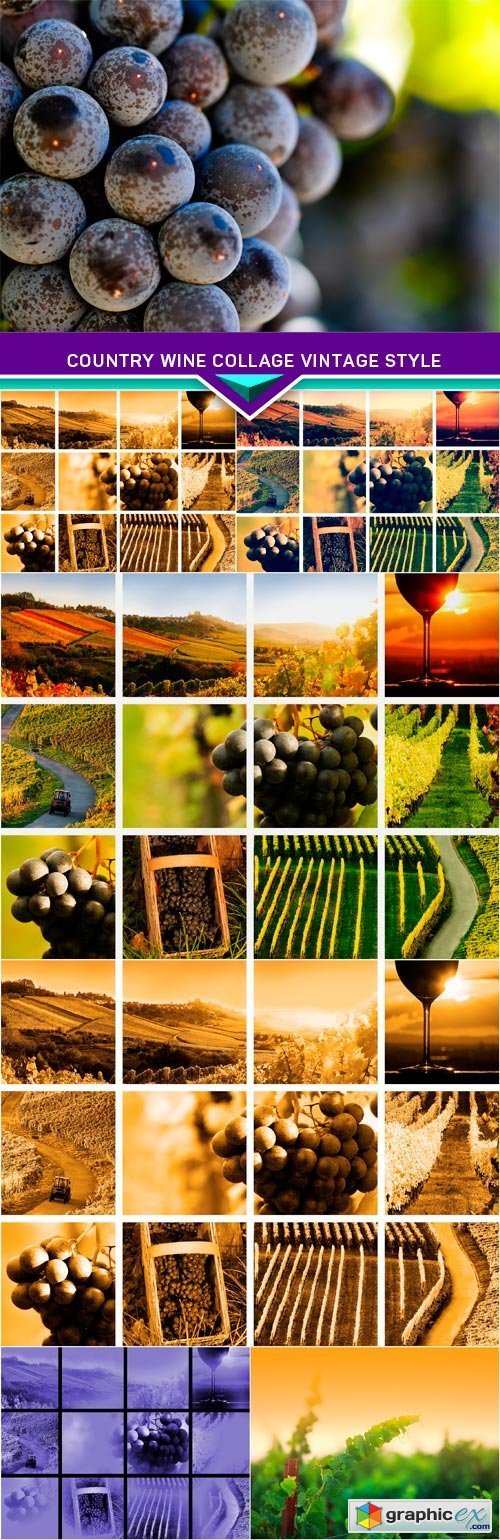 Country wine collage vintage style 7x JPEG