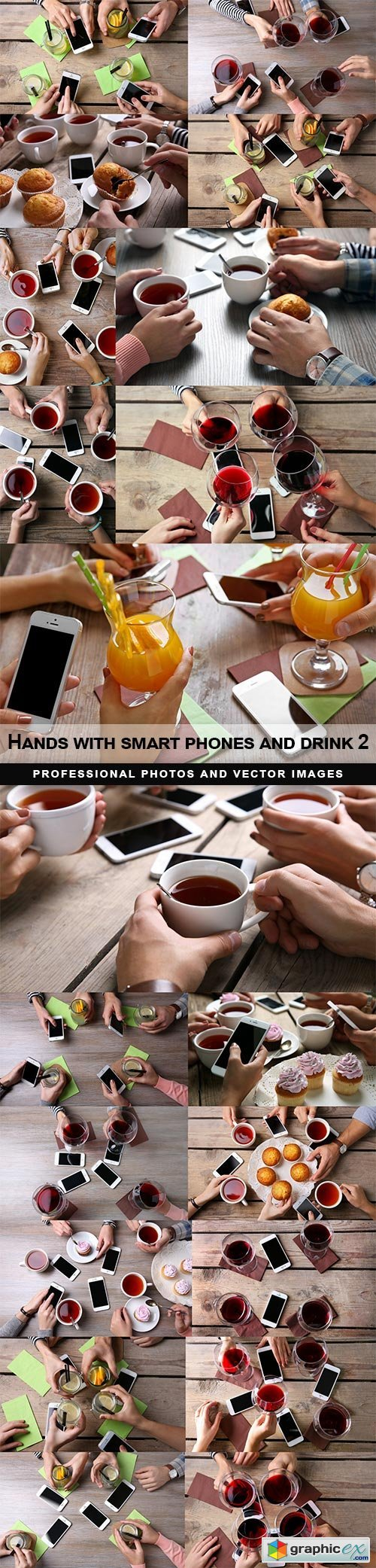Hands with smart phones and drink 2