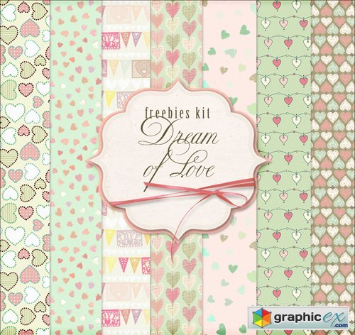Ornamental Background Textures with Hearts - Dream of Love