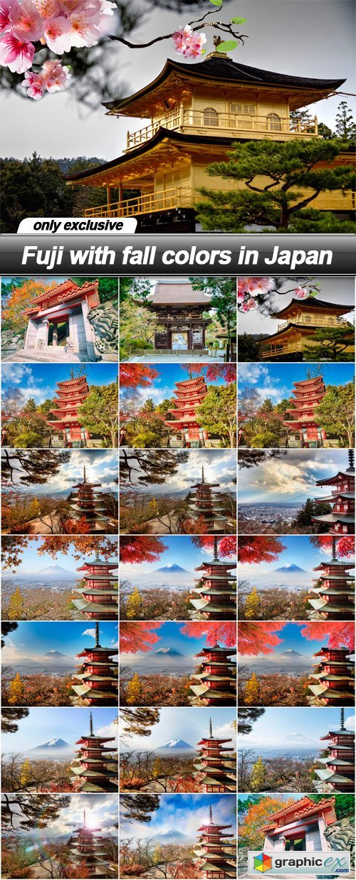 Fuji with fall colors in Japan - 20 UHQ JPEG