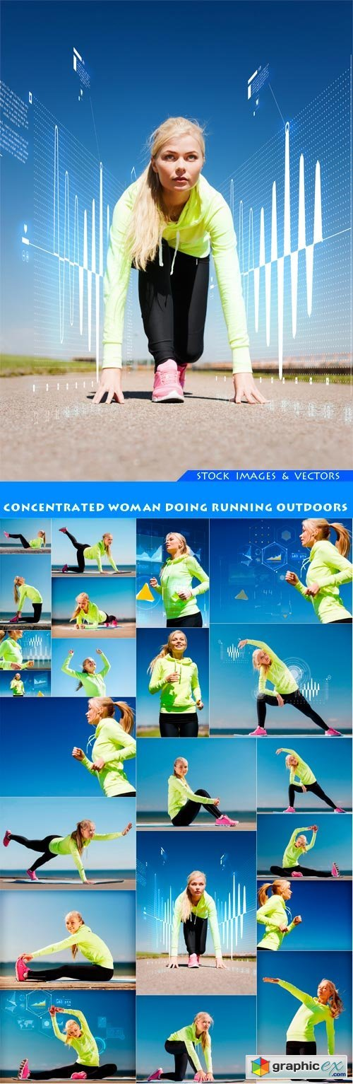 Concentrated woman doing running outdoors 22X JPEG