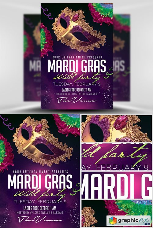 Mardi Gras Party Flyer Template 2