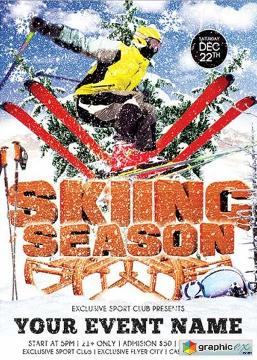 Skiing Season Premium Flyer Template + Facebook Cover