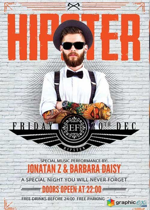 Mister Hipster Night Premium Flyer Template + Facebook Cover