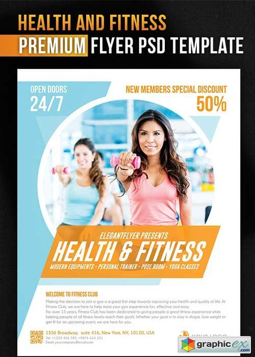 Health And Fitness Flyer PSD Template + Facebook Cover